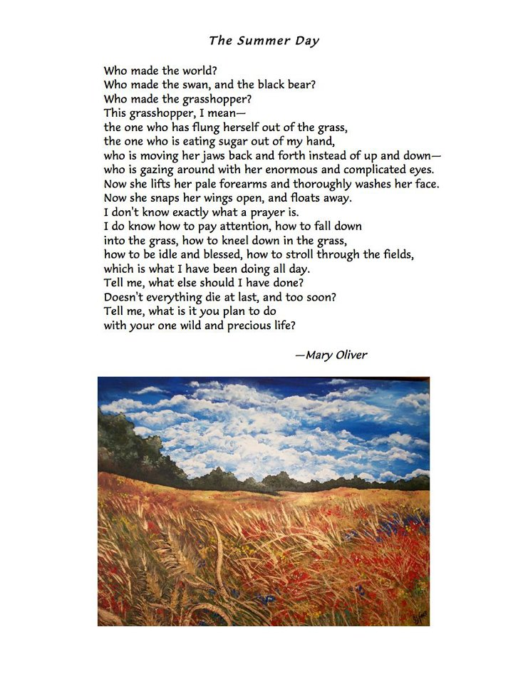 an analysis of the poem oxygen by mary oliver Poems by mary oliver copyright © mary oliver 7 the summer day who made the world who made the swan, and the black bear who made the grasshopper.