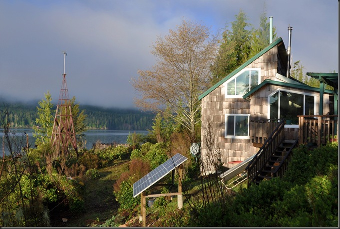 the old Air 403 wind turbine and solar phot-voltaic array at our cabin