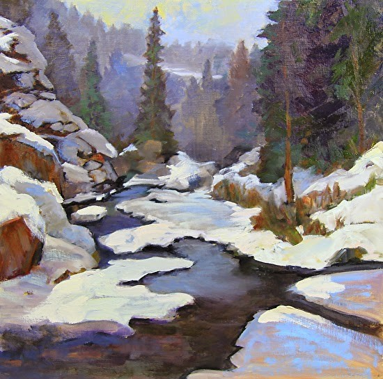 """Shades of Gray in Winter"" Painting by Susan Fowler From dailypaintersofcolorado.com"